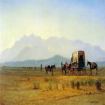 Albert Bierstadt (1830-1902)  Surveyor's Wagon in the Rockies  Oil on paper mounted on masonite, c.1859  7 3/4 x 12 3/4 inches (19.7 x 32.7 cm)  The Saint Louis Art Museum, Saint Louis